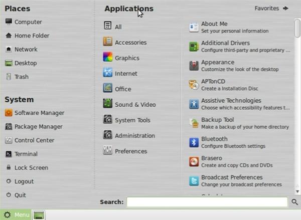 Linux Mint 10 Main Menu All Applications